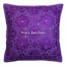 Cotton Mirror Embroidered Cushion Cover Indian Cotton Home Decor Pillow Case