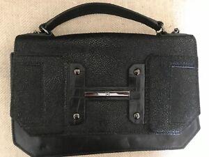 HALSTON HERITAGE black leather stingray purse handbag EXC COND!