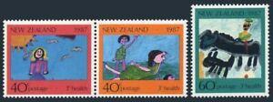 New Zealand B127-B129,B129a,hinged.Mi 1000-1002,Klb. Children's drawings,1987.