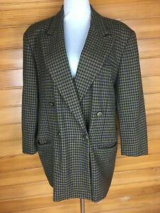 Country Road Pure New Wool Vintage Brown Check Double Breasted Jacket Sz 14 VGUC