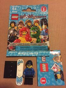 LEGO 8805 Minifigure Series 5 #16 Snowboarder Guy New 2011 w/ Wrapper Checklist!