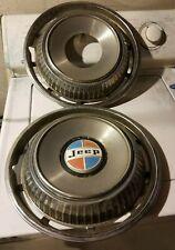 """1974 -79 AMC Jeep Cherokee Wagoneer J10 J20 15"""" wheel Hubcaps OEM set of 2"""