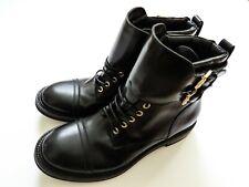 $1650 BRIONI Black Leather Combat Hiking Motorcycle Boots 9.5 US 42.5 EU 8.5 UK