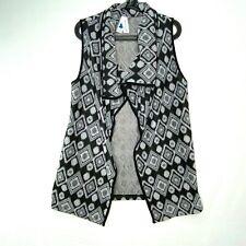 Society Girl Womens Size Medium Open Front Knit Sweater Vest Black Gray Pattern