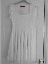 Ladies Dress Size 14 Ivory Cap Sleeve Lace Summer Skater Boohoo BNWT