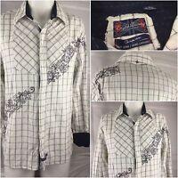 English Laundry Flip Cuff Shirt XL White 100% Cotton Black Trim LS EUC YGI 46G