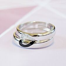 925 Sterling Silver Matching Black and Zircon Half Heart Couple Rings/Bands