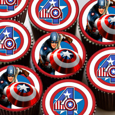 CAPTAIN AMERICA YOUR AGE BIRTHDAY CUPCAKE TOPPERS PRINTED ON EDIBLE ICING X24
