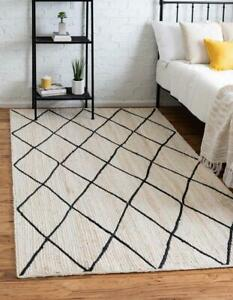 4x6 feet square hand woven jute area rug white color with black dimond jute rug
