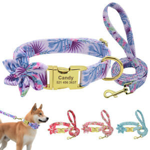 Floral Personalized Dog Collar with Leash set Custom Engraved Slide on ID Tag