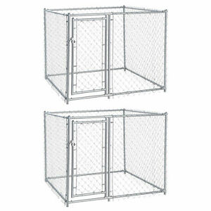 Lucky Dog 5 x 5 x 4 Foot Heavy Duty Outdoor Chain Link Dog Kennel (2 Pack)