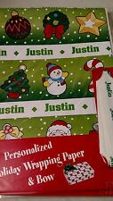 Personalized gift wrap wrapping Christmas xmas Nip Justin green tree star wreath