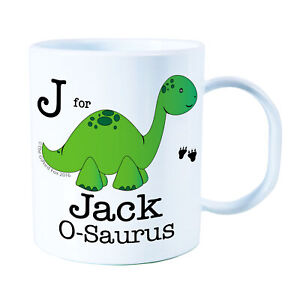 personalised Green Dino Plastic Mug Children's Birthday Gift Juice Cup Any Name