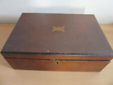 Antique Mahogany Folding Traveling Lap desk box with inkwells, Leaf Caps
