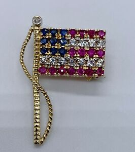 14K Gold American Flag Pin Brooch USA Red White & Blue Spinels & Diamond 3 grams