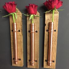 Set Of 3 Handmade Copper & Oak Flower Holder. Pot Vase Hanger