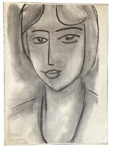 Rare VTG Antique Henri Matisse Paula Avril 50 Drawing Lithograph Art Print 1950