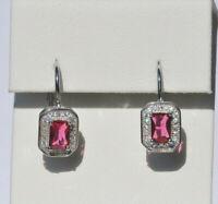 Echt 925 Sterling Silber Ohrringe Ohrhänger Zirkonia rot crystal  Nr 272