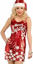 Forum Novelties Womens Plus Size Racy Red Sequin Merry Christmas Costume Dress,