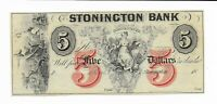 $5 Connecticut Stonington Bank New Type 18XX Maid in V Gods at Sea Red 5 Variety