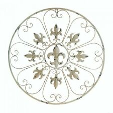 Beautiful White Iron Circular Fleur De Lis Wall Decor French Accent NEW scroll