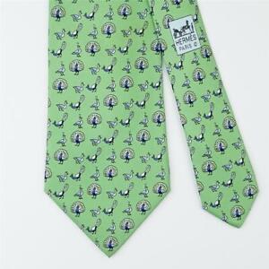 HERMES TIE 5387 OA Peacock on Green Classic Silk Necktie