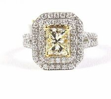 2.36Ct Natural Princess Cut Fancy Yellow Diamond Solitaire Ring 14k White Gold