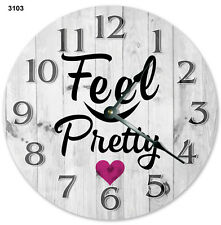 "10.5"" FEEL PRETTY WOMENS CLOCK - Large 10.5"" Wall Clock Home Décor Clock - 3103"