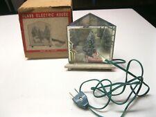 Vintage Glass Electric House Santa Sled Deer & Tree W/Original Box