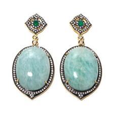Rarities Carol Brodie Light Green Chalcedony & Zircon Vermeil Oval Drop Earrings