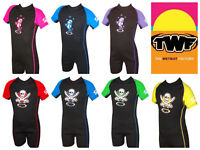TWF Kids Shorty Wetsuit Shortie Childs Childrens Boys Girls UV Swim Sun Wet Suit