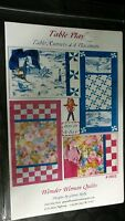 Wonder Woman QUILTS 602 TABLE PLAY Table Runners 4 Placemats Quilt Pattern new