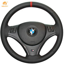 Black Leather Red Marker Steering Wheel Cover for BMW E90 325i 330i 335i E87