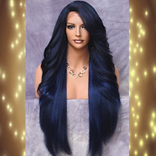 "Women Hair Fashion 38"" Long Lace Front Wig Layered Wavy Dark Blue Piece NWT"