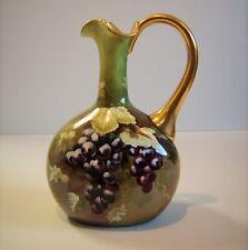 Vintage STUNNING Victorian Signed Porcelain T. ROSE Painted Pitcher Grapes Ewer