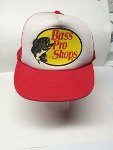 Vintage Bass Pro Shops Trucker Hat Snap Back Hat Red Baseball Cap