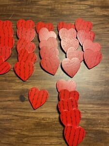 Craft Item - Hand-painted Wooden Cut Out Hearts (31 Total)