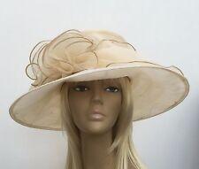 New Womens Beige Organza Wedding Hat Mother Of The Bride/Groom Ascot Ladies day