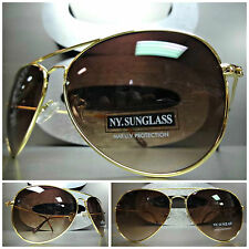 New Men's or Women CLASSIC VINTAGE RETRO Style SUN GLASSES Gold Frame Brown Lens