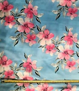 Summer Flowers Crepe de Chine Fabric ~  pale Blue - By the metre ~ Free Econ P&P