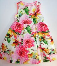 Next Girls Bright Pink Floral Bird Print Prom Dress Party Occasion 2-3 years