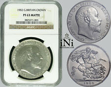 iNi  Great Britain, Edward VII, Crown, MATTE PROOF, 1902, NGC PF 63