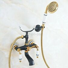 Black & Gold Brass Wall Mount Clawfoot Bath Tub Filler Faucet w/ Hand shower