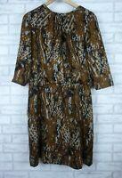 Etcetera Dress Short sleeve Brown, black print Silk wool mix Sz 12