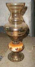 antica lampada abatjour bronzo dorato ampolla cristallo ambrato ceramica autunno