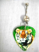 MAJESTIC BIG CAT TIGER COLOR PHOTO GUITAR PICK ON CLEAR CZ BELLY BAR NAVEL RING