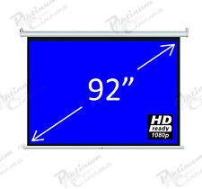 "New 92"" Electric Motorized HD Projection Screen Remote Control 4:3 Matt White"
