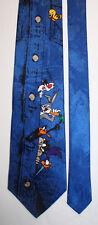 NEW Looney Tunes Silk Neck Tie Blue Sylvester Bugs Taz Daffy Road Runner 1066