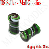 0176 Double Flare Green White Swirl Glass Saddle Ear Plugs 2G Gauge 6mm Spiral