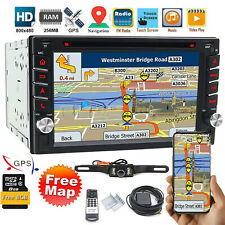 "Car Stereo GPS Navigation Bluetooth Radio Double 2Din 6.2"" CD DVD Player Camera"